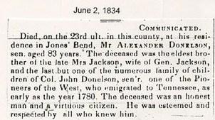 obit for Alexander Donelson